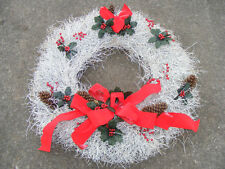 "33"" White Christmas Holiday Wreath Holly Pinecones Bows - Beautiful"