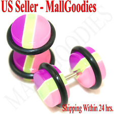 0272 Fake Faux Cheaters Illusion Ear Plugs 16G Purple/Green/Pink Stripes 0G