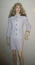LADIES CAPTAIN OFFICER SAILOR  FANCY DRESS COSTUME UNIFORM NAVY 10-12 USED