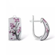 NEW Silver Women Red Ruby Flower Plum Blossom Stud Ear Hoop Earrings Jewelry