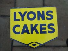 "Vintage 1940 Lyons Cake's Enamel metal Sign Double side with fixing lip ""clean"""