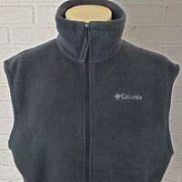 Columbia Fleece Vest Mens L Tall Grey Full Zip Pockets Outerwear Jacket Coat