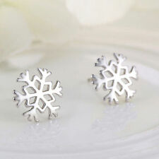Fashion Womens Snow Snowflake Stud Earrings Winter Post Everyday Wearing Gift