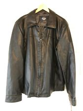 NEW Dockers Men's James Black Faux-Leather Open-Bottom Jacket Size Large