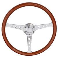 15'' Wooden Steering Wheel Grain Silver Brushed Spoke Diamond Hole Universal New