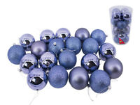 Blue Baubles Bulk Pack Christmas Tree Decoration Assorted Shiny Matt Glitter 8cm