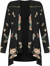 Womens Long Sleeve Zip Shoulder Butterfly Print Top Ladies Waterfall Cardigan
