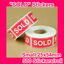 "1000 ""SOLD"" sticker/label 25mmx54mm GST INCLUDED (2 rolls)"