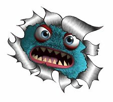 CLASSIC Ripped Open Torn Metal Rip & Cute Fluffy BLUE Angry Monster Car sticker