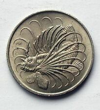 1967 SINGAPORE Coin - 50 Cents - AU+ cartwheel lustre - lion fish (ocean animal)