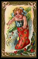 ~Cute Baby in Red Stocking with Holly~Vintage Antique Christmas Postcard-m907