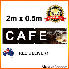2m x 0.5m CAFE Vinyl Banner Heavy Duty Hemmed Eyelets Sign Outdoor Banner Coffee