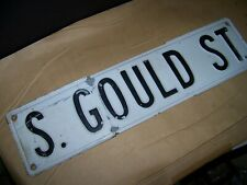 gould  ST old  Vintage Street Sign Embossed 24 x 6 Black & White HEAVY