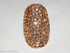 Beauty Stunning Gold with Gold Rhinestone Crystal Stretch Bridal Ring
