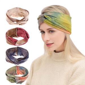 Women Headband Sports Yoga Knotted Boho Hairband Girl Wide Stretch Hair Wrap Lot