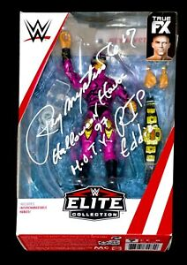 WWE REY MYSTERIO HAND SIGNED ELITE TOY WITH 1 OF A KIND INSCRIPTION AND COA RARE