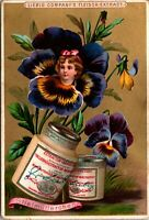 c 1890 LIEBIG S-267 GIRLS' HEADS IN FLOWERS Fantasy Set 6 Victorian Trade Cards