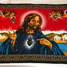 Vintage Jesus Tapestry Rug Velvet Wall Hanging Religious Christ Cherub Angel