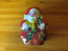 Santa Shaped Cookie Tin w Music Box - plays Rudolph the Red Nosed Reindeer Euc