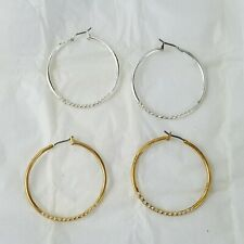 Avon Rhinestone Earring Hoop Set Silvertone Goldtone New