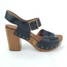 Cynthia Rowley 9.5 M Womens Sandal Platform Heels Shoes Black Buckle High Heel