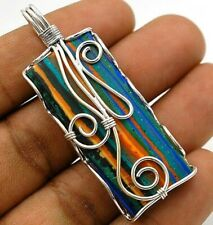 Natural Rainbow Calsilica 925 Genuine Sterling Silver Pendant Jewelry NW4-3