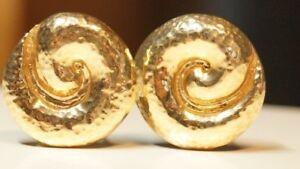 *Retired & VINTAGE* James Avery 14k Gold HAMMERED SWIRL Earrings