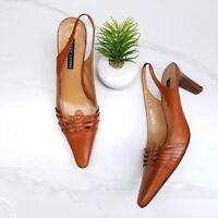 RALPH LAUREN Italy Brown Leather Slingback Pumps Heels Women's Shoes Size 9 B
