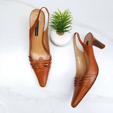 RALPH LAUREN Italy Brown Leather Slingback Pumps Heels Women's Shoes Size 9 B
