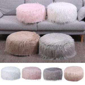 Round Shaggy Faux Fur Bean Bag Footstool Fluffy Beanbag Pouffe Seat Foot Stool