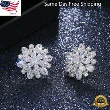 Gorgeous Stud Earrings Women 925 Silver Wedding Jewelry Cubic Zircon A Pair/set