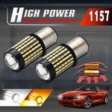 1157 Dual Color Switchback White/Amber 120-LED Turn Signal Light Bulbs+Resistors