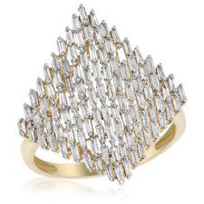 Diamond Statement Cocktail Right Hand Ring 14K Yellow Gold Baguette Deco Style