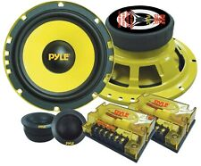 "NEW Pyle PLG6C 6.5"" 400W PAIR Speakers +2 Tweeters +2 Passive Crossovers +Grills"