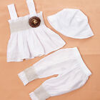 White Baby Girl Kid Clothes Ruffle Top Pants Hat Dress Set Outfit Cute 3pcs