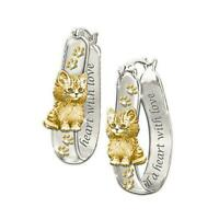 Cute Cat Two Tone Hoop Earrings For Women 925 Silver 1 Pair/set Jewelry C8Z5