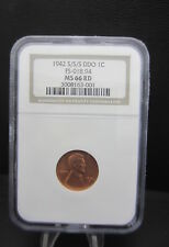 1942 S/S/S RPM, DOUBLE DIE.  LINCOLN CENT. NGC MS66 RD FS 101-301. OLD FS018.94