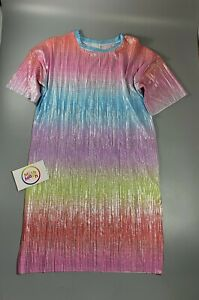 girls RIVER ISLAND multicolour rainbow shimmer t-shirt tunic dress 5 - 12 years