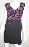 Shoshanna Purple Black Silk Sleeveless Zippered Pocket Sheath Dress 6 S SM Small