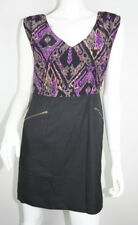 Shoshanna Purple Black Silk Sleeveless Zippered Pocket Sheath Dress 6 S SM Small