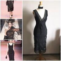 TED BAKER LONDON 100% Silk Lace Dress Black XS Mesh Floral 20s 8/36 S designer