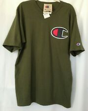 New Champion Logo Mens Short Sleeve Tee T-Shirt Size XL Dark Green cotton -P15