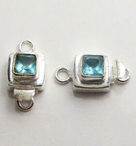1 PC SQUARE BLUE TOPAZ  BOX CLASP 1 STRAND STERLING SILVER PLATED 616 MDH-193