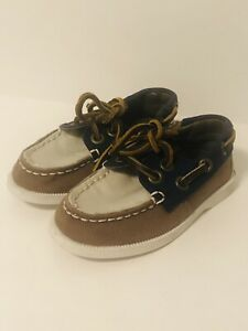 NEW Janie and Jack Toddler Boy Navy Blue Brown Leather Dress Boat Shoes Size 6
