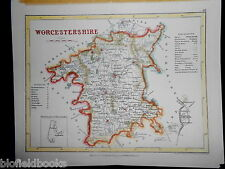 Antiquarian Hand Coloured Map of Worcestershire - c1850- Worcester, Droitwich+