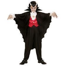 KINDER VAMPIRUMHANG Schwarzer Dracula Vampir Umhang Cape Jungen Kostüm Fest 3582