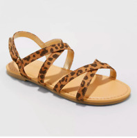 New Cat & Jack Luci Ankle Brown Animal Print Strap Sandals Toddler Girls Size 13
