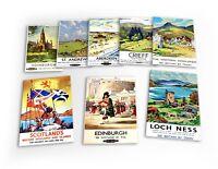 Scotland Vintage Travel 8 X Plastic Poster Fridge Magnets