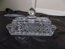 Crystal Cut Glass Butter Dish with Lid