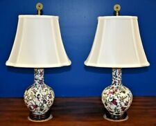 "SMALL PAIR OF 22""  CHINESE PORCELAIN VASE LAMPS-ASIAN-ORIENTAL-CLOISONNE STYLE"